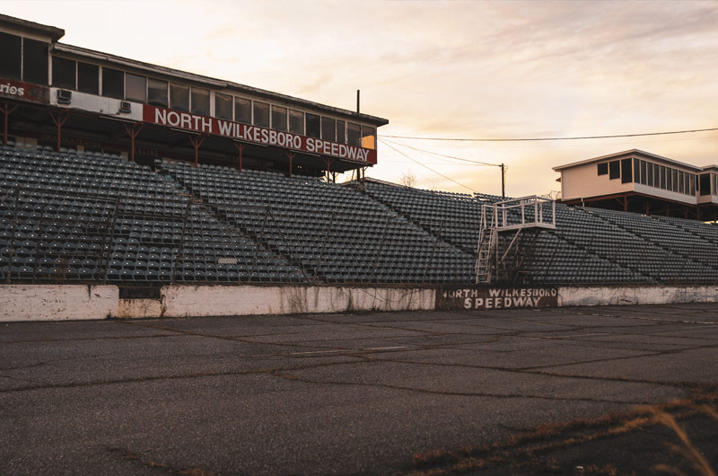 North Wilkesboro Speedway track at sunset