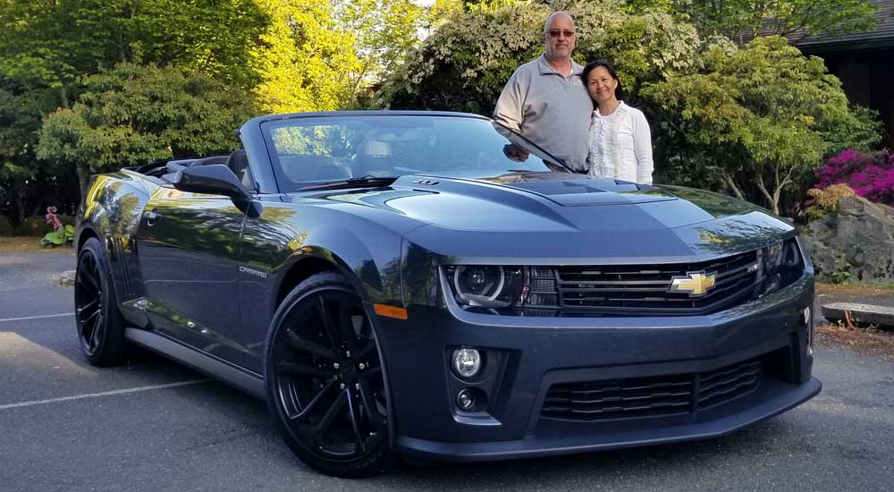 2020 Camaro winner, Steve, and his wife, Jo-Ann, with the car